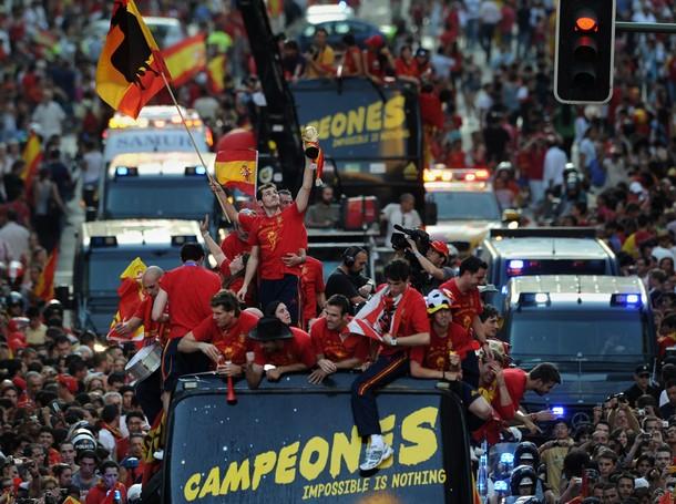 Todo el seleccionado español celebró en Madrid.