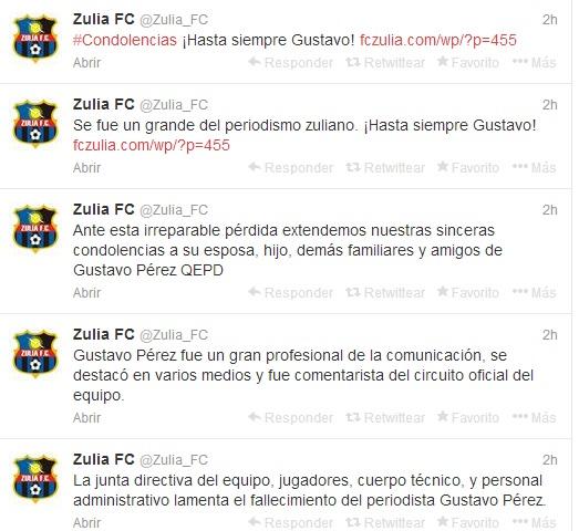 Zulia FC se unió al duelo.