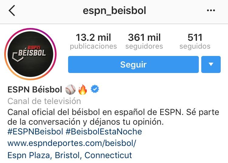 Instagram de ESPN Beisbol cerca de los 30 millones