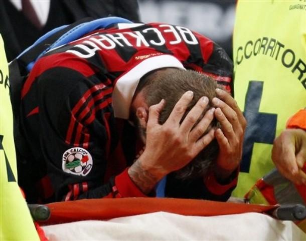 David Beckham salió lesionado del talón de aquiles.