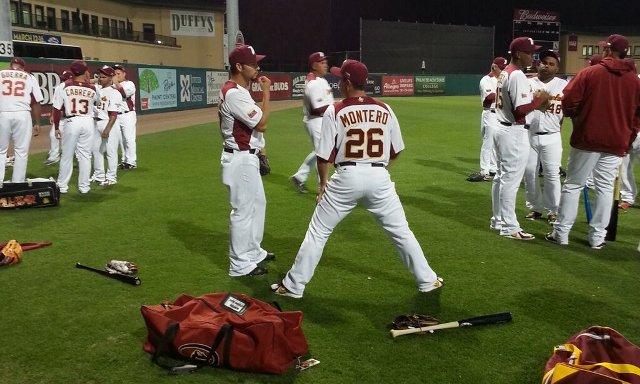 Aníbal Sánchez y Miguel Montero conversaron antes de la sesión de bullpen. Foto: José Rivera