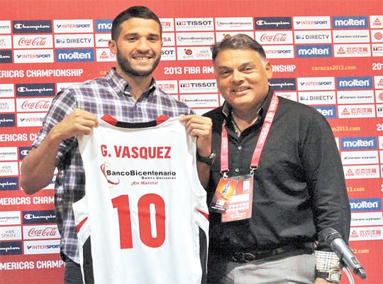 Greivis Vásquez cuando fue presentado por Guaros.