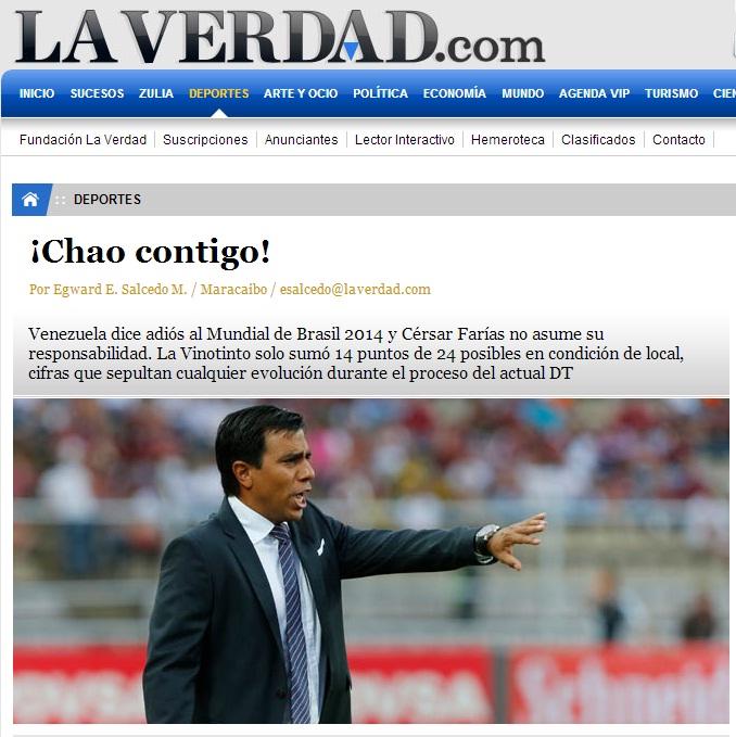 """El diario zuliano La Verdad también le dijo """"chao""""."""