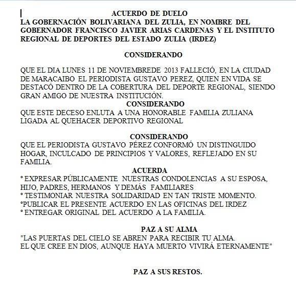 El Gobierno del Zulia, a través del Irdez, publicó un acuerdo de duelo.