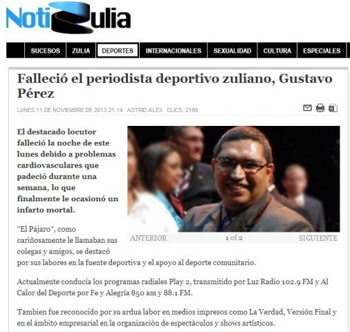 Diversos portales como Notizulia publicaron la reseña.