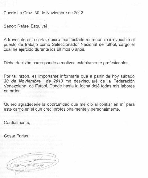 Carta de renuncia de César Farías.